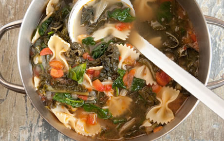Radiant Recipe: Hearty Greens Soup with Bowtie Pasta and Tomatoes